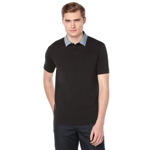 Short Sleeve Woven Collar Polo | Perry Ellis