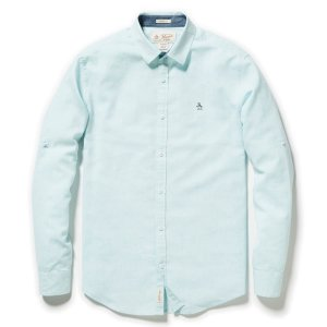 CLASSIC FIT ROLL SLEEVE LINEN END ON END SHIRT - Original Penguin