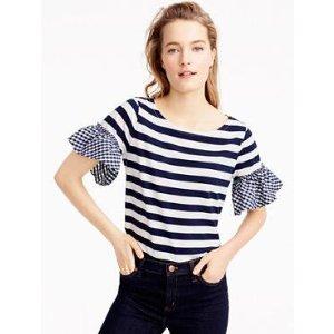 Ruffle-sleeve top : t-shirts & tank tops