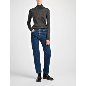 Lurex Knit High Neck Sweater in Black | JOSEPH