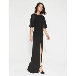 Flowy Sleeves Crepe Gown - Halston Heritage