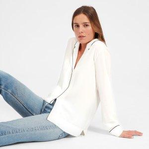 The Piped Silk Notch Collar Shirt