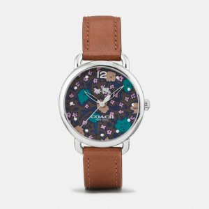 COACH: Delancey Stainless Steel Floral Dial Leather Strap Watch
