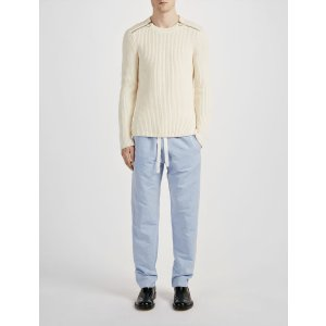Linen Chambray Abington Trouser in Blue | JOSEPH