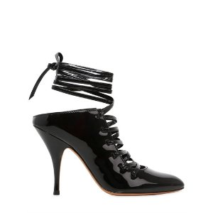GIVENCHY - 100MM PATENT LEATHER LACE-UP MULES - PUMPS - BLACK - LUISAVIAROMA