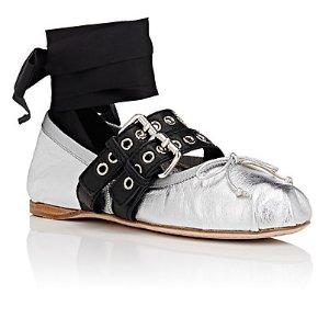Miu Miu Double-Buckle Leather Ankle-Tie Flats | Barneys New York