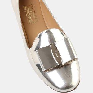 Salvatore Ferragamo Elisabel Metallic Leather Bow Loafer Loafers
