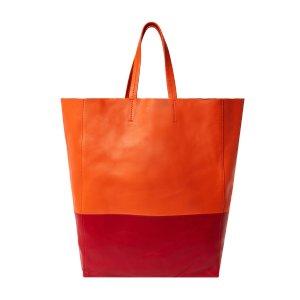 Céline Cabas Medium Bicolor Leather Tote