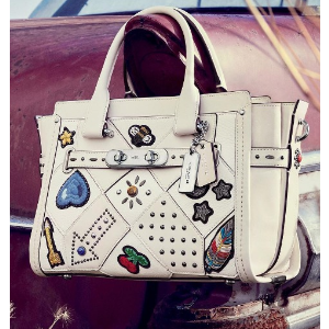 COACH - Studded Patchwork Leather Satchel - saks.com