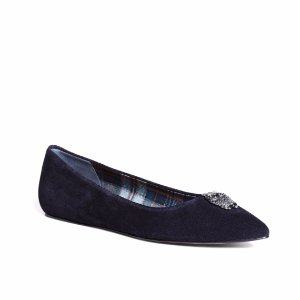 Women's Navy Blue Suede Owl Ballet Flats | Brooks Brothers