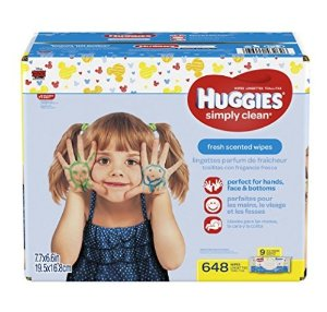 $9.53HUGGIES Simply Clean Baby Wipes, Fresh Scent, Soft Pack , 648 Ct
