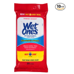 Wet Ones Antibacterial Hand Wipes, 20 Count ( Pack Of 10)