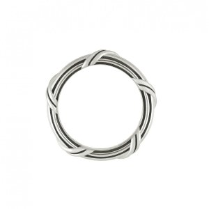 Ribbon and Reed Signature Classic Band Ring in sterling silver
