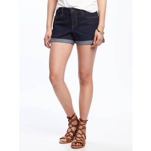 Cuffed Denim Shorts for Women (3