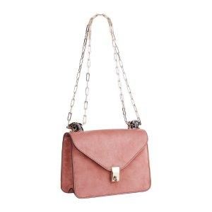 Valentino 樱花粉麂皮链条信封包
