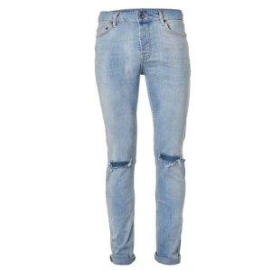 Blue Ripped Stretch Skinny Jeans