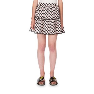 Kenzo Silk Jacquard Scalloped Check Top & Skirt