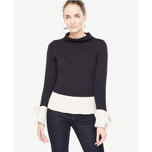 Colorblock Tie Sleeve Sweater | Ann Taylor
