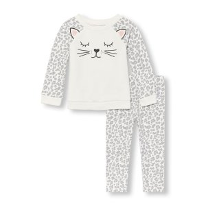 Toddler Girls Long Raglan Sleeve Leopard Face Top And Leopard Print Leggings Set | The Children's Place