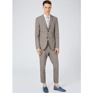 Gray Check Linen Rich Skinny Fit Suit