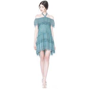 Flora Cold Shoulder Ruffle Aline Dress | Alice + Olivia