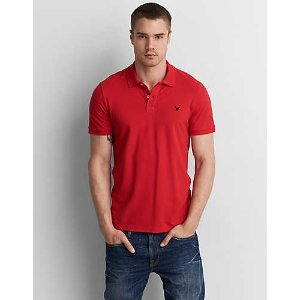 AEO Flex Solid Pique Polo, Marrakech Red | American Eagle Outfitters