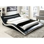 Furniture of America Blaires Modern 2-tone Leatherette Low Profile Bed