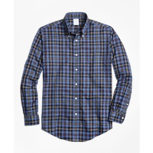 Non-Iron Regent Fit Blue Heathered Plaid Sport Shirt - Brooks Brothers
