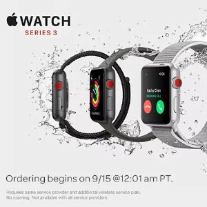 FreeOrder Apple Watch Series 3 and Get 3-mo Service + Activation