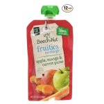 Beech-Nut Fruities On-the-Go, Baby Food, Stage 2, Apple, Mango & Carrot, 3.5 Ounce Pouch (Pack of 12)