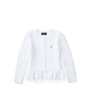 Cable Cotton Peplum Cardigan - Sweaters � Girls' 2-6X - RalphLauren.com