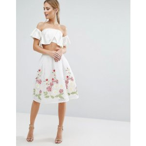 Endless Rose | Endless Rose Midi Skirt with Embroidered Hem