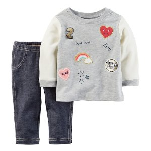 Baby Girl Carter's Patch French Terry Top & Faux-Denim Leggings Set