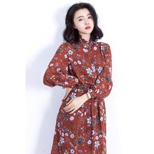 Feminine Vintage Flower Dress--Red