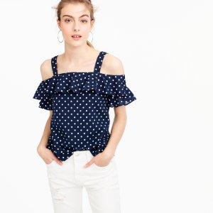 Polka-dot cold-shoulder top