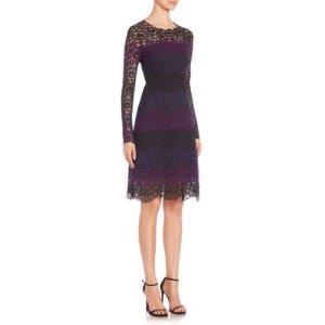 Elie Tahari Ophelia Colorblock Lace Dress