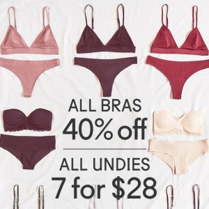 ALL BRAS 40% OFFPLUS ALL UNDIES 7 FOR $28 @ Urban Outfitters