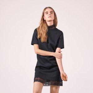 Cotton Dress With High Lace Neck - Dresses - Sandro-paris.com