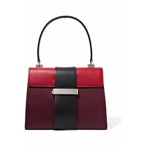 Metal Ribbon color-block leather tote