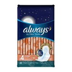 Always Ultra Thin Size 4 Overnight Pads With Wings, Unscented, 28 count (Pack of 3)