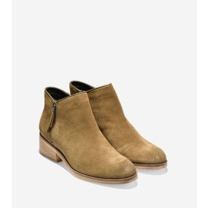 Hayes Flat Booties 40mm in Olive Suede | Cole Haan