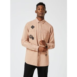 Washed Stucco Pink Twill Badged Casual Shirt - View All Sale - Sale - TOPMAN USA