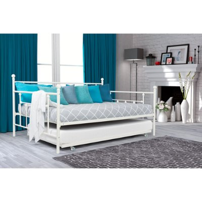twin trundle bed daybed metal frame space saving student kid