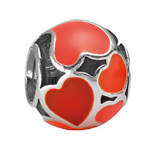 PANDORA Silver Enamel Red Hot Love Charm