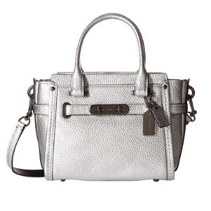 $174.99 Coach Swagger 21 Women's Pebbled Leather Satchel, DK/Silver