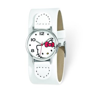 Versil Hello Kitty Women's White Dial Red Bow White Faux Leather Watch - Free Shipping Today - Overstock.com - 17659701