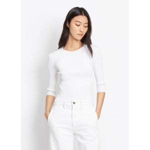 Ribbed Elbow Sleeve Cropped Crew