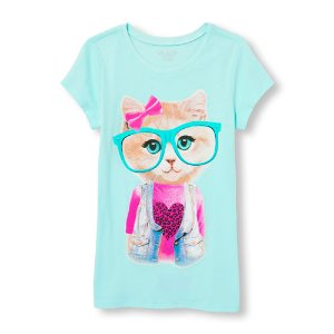 Girls Short Sleeve Hipster Cat Graphic Tee | The Children's Place