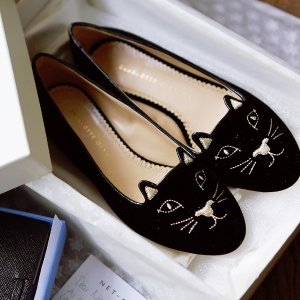 Up to 53% Off Charlotte Olympia Velvet Kitty Flats @ SSENSE