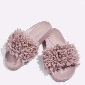 $20Topshop HOWL Faux Shearling Sliders